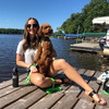 kona and his mom love a day at the lake wearing pro waterproof dog leash