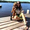 Kona and his mom wearing Coastal Pet pro waterproof harness and leash aqua