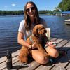 Kona and Mom wearing Coastal Pet Pro Waterproof Leash and Harness Aqua