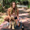 millerthelabradoodle and mom wearing coastal pet pro waterproof dog leash and harness in aqua