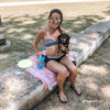 Sadie the  mini dachshund loves outdoor fun at the river and playing with her Pro Fit flying frisbee dog toy