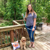 Miller and Mom Katherine love weekend walks and wearing his Coastal Pet Ribbon Weave Leash and Harness