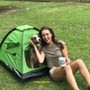 Nessie and Mom having fun with their Alcott pup tent