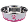 Maslow™ Design Series Paw Bowl Small (88420) White With Pink