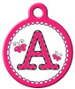 Dog Tag Art™ Pink Stitch Monogram A-Z Dog Tag For Dogs (DTA-M02)