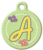 Dog Tag Art™ Green Stitch Monogram A-Z Dog Tag For Dogs (DTA-M06)