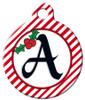 Dog Tag Art™ Christmas Stripes Monogram A-Z Dog Tag For Dogs (DTA-M12)
