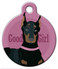Dog Tag Art Good Girl Doberman or Miniature Pinscher Pet ID Dog Tag