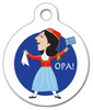 Dog Tag Art Festive Greek Woman Pet ID Dog Tag