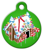 Dog Tag Art Gingerbread House Pet ID Dog Tag