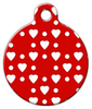 Dog Tag Art Red Heart Pattern Pet ID Dog Tag