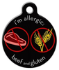 Dog Tag Art Beef and Gluten Medical Alert Pet ID Dog Tag