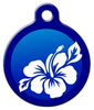 Dog Tag Art Blue Hibiscus Pet ID Dog Tag