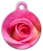 Dog Tag Art Pink Rosette Pet ID Dog Tag