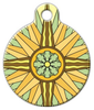 Dog Tag Art Floral Design Compass Pet ID Dog Tag