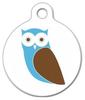 Dog Tag Art Mod Blue Owl Pet ID Dog Tag