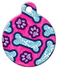 Dog Tag Art Pink Dog Paisley Pet ID Dog Tag