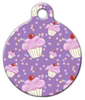 Dog Tag Art Lilac Cupcake Print Pet ID Dog Tag