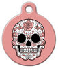 Dog Tag Art Peach Sugar Skull Pet ID Dog Tag