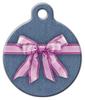 Dog Tag Art Pink Bow on Denim Pet ID Dog Tag