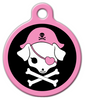 Dog Tag Art Pink Pirate Pet ID Dog Tag