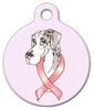 Dog Tag Art Merlequin Great Dane Cancer Ribbon Pet ID Dog Tag