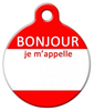 Dog Tag Art Hello My Name Is FRENCH Pet ID Dog Tag