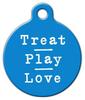 Dog Tag Art Treat Pray Love in Blue Pet ID Dog Tag