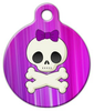 Dog Tag Art Girlie Skull Pet ID Dog Tag