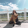 Mylo and Mom Wearing Coastal Pet Ribbon Leash