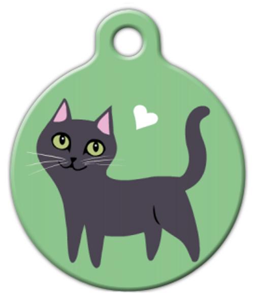 Dog Tag Art Black Kitty Cat Pet ID Dog Tag