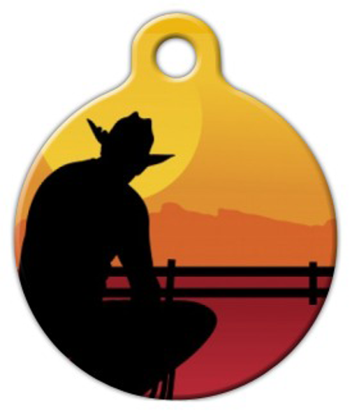 Dog Tag Art Cowboy Silhouette Pet ID Dog Tag