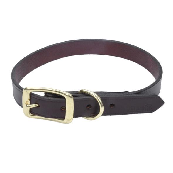 Circle T Leather Latigo Town Dog Collar Solid Brass Hardware (2103B)