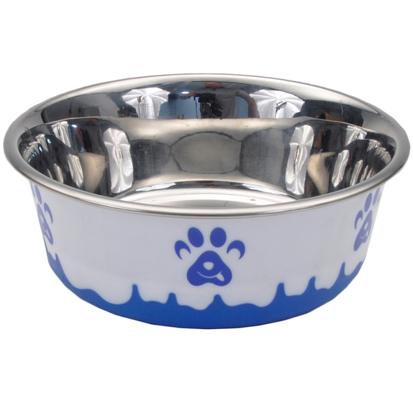 Maslow™ Design Series Paw Bowl Small (88420) White With Blue