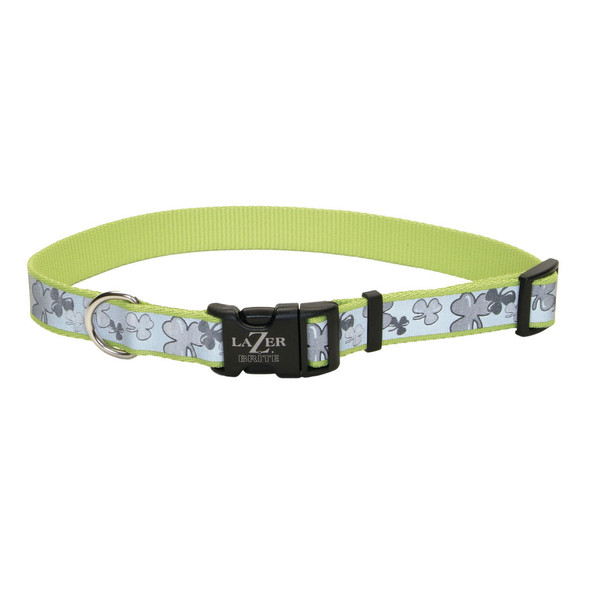 Coastal Pet Lazer Brite Reflective Adjustable Dog Collar Shamrock