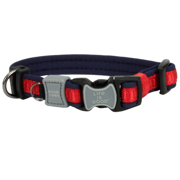 Life Is Good® Padded Adjustable Dog Collar (15431D) Red