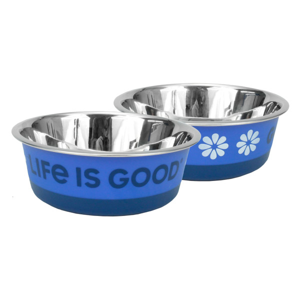 Life Is Good® Stainless Pet Bowl (08590D) Blue