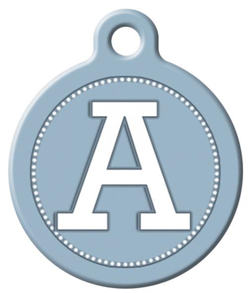Dog Tag Art™ Blue Grey Monogram A-Z Dog Tag For Dogs (DTA-M07)
