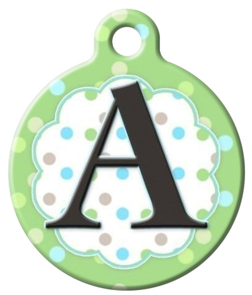 Dog Tag Art™ Pastel Dots Monogram A-Z Dog Tag For Dogs (DTA-M11)