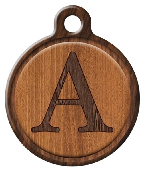 Dog Tag Art™ Wood Veneer Monogram A-Z Dog Tag For Dogs (DTA-M14)