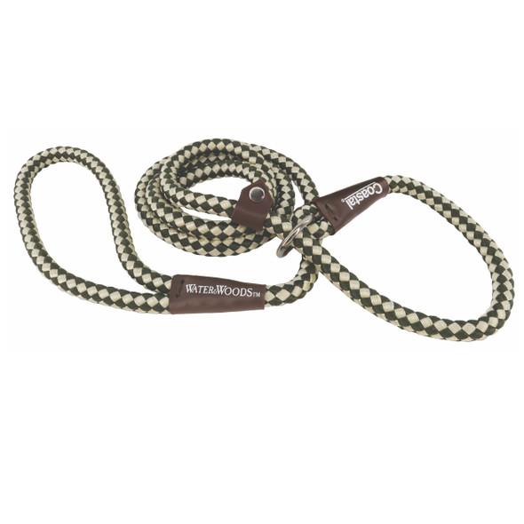 Water&Woods™ Braided Rope Slip Dog Leash Green and White