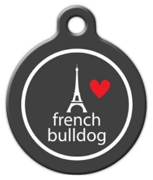 Dog Tag Art Eiffle Heart French Bull Pet ID Dog Tag