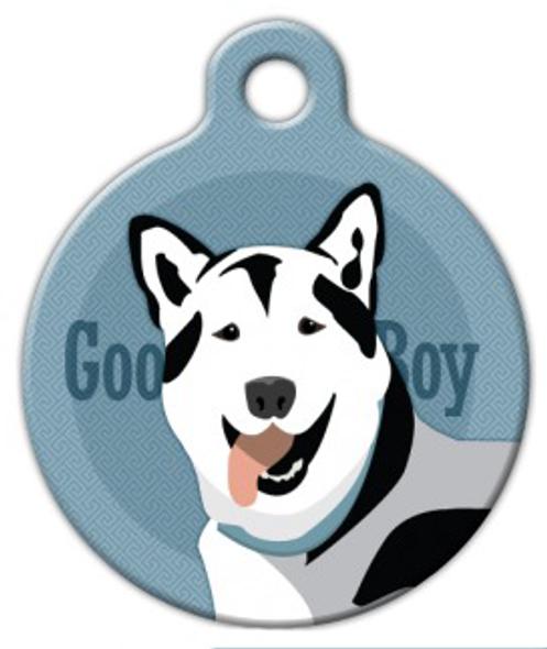 Dog Tag Art Good Boy Husky Pet ID Dog Tag