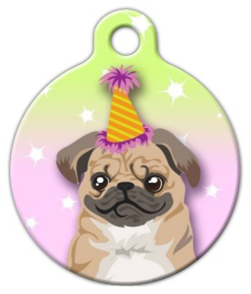 Dog Tag Art Birthday Pug Pet ID Dog Tag