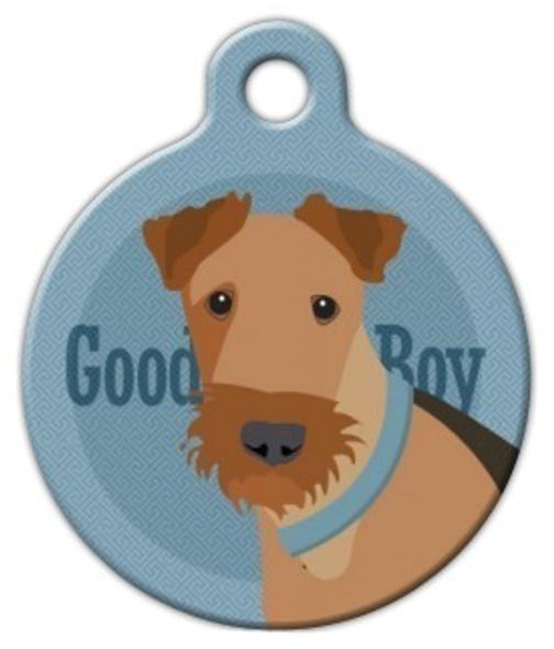 Dog Tag Art Good Boy Airedale Pet ID Dog Tag