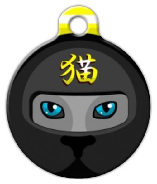 Dog Tag Art Black Ninja Mask Pet ID Dog Tag