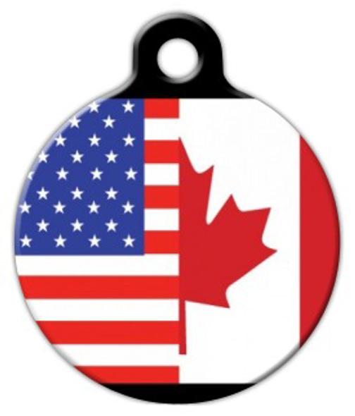 Dog Tag Art America Canada Flag Pet ID Dog Tag