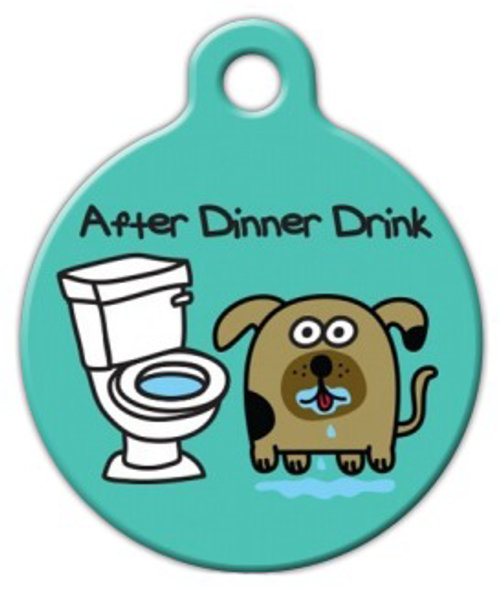 Dog Tag Art After Dinner Drink Pet ID Dog Tag