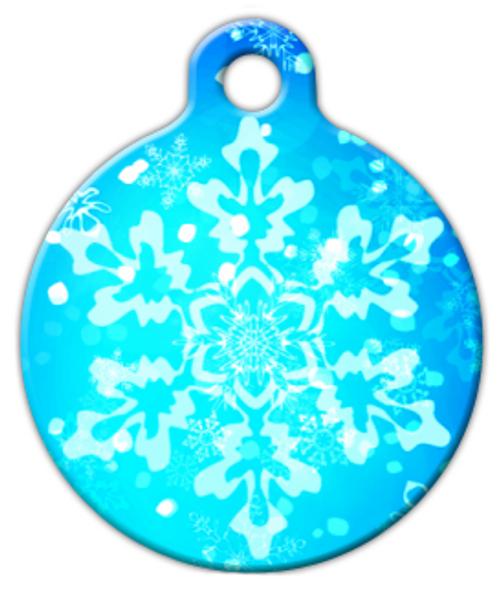 Dog Tag Art Blue Snowflakes Pet ID Dog Tag