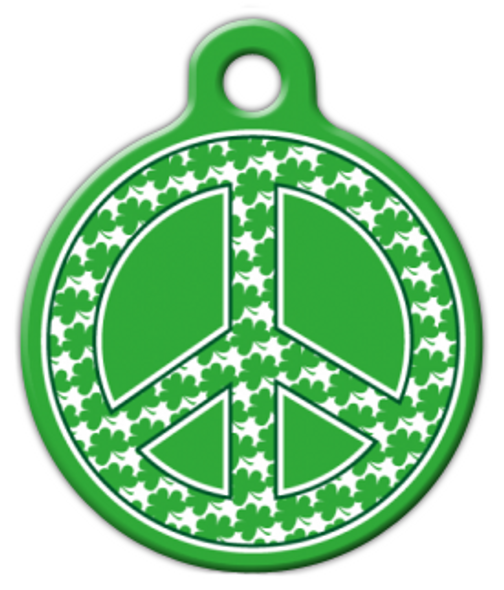 Dog Tag Art Shamrock Peace Sign Pet ID Dog Tag